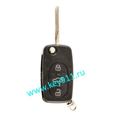 Выкидной ключ для Ауди (Audi) 4D0837231N | HU66 | ID 48 | 433MHz Европа | 3 кнопки