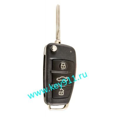 Корпус выкидного ключа Ауди (Audi) | HU66 | 3 кнопки + паника