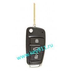 Выкидной ключ для Ауди (Audi) 8E0837220Q | HU66 | ID 48 | 433MHz Европа | 3 кнопки