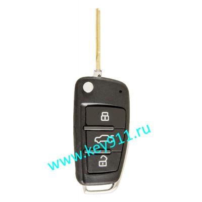 Корпус выкидного ключа Ауди (Audi) | HU66 | 3 кнопки