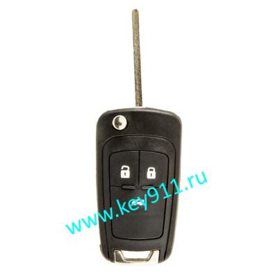 Выкидной ключ для Шевроле Круз, Кобальт, Авео (Chevrolet Cruze, Cobalt, Aveo) | HU100 | PCF7937 | 433MHz Европа | 3 кнопки
