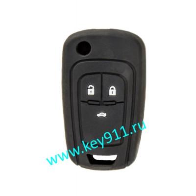 Силиконовый чехол для выкидного ключа Шевроле (Chevrolet) | 3 кнопки