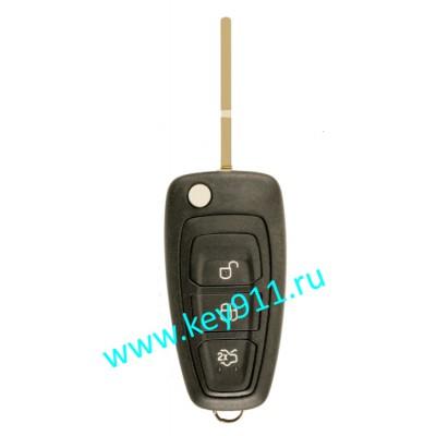 Выкидной ключ для Форд Фокус 3, Мондео 4, С-МАХ  (Ford Ford Focus 3, Mondeo 4, C-MAX)   HU101   63-6F   433MHz   3 кнопки