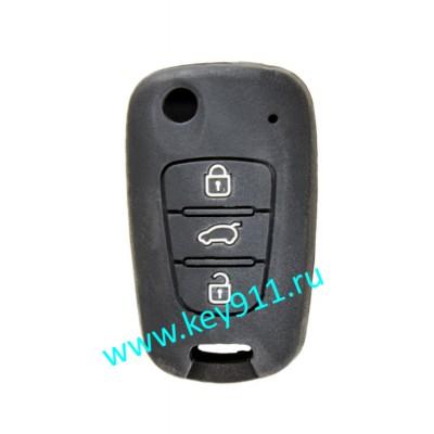 Силиконовый чехол для выкидного ключа Хундай (Hyundai)   3 кнопки