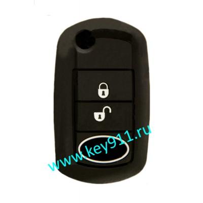 Силиконовый чехол для выкидного ключа Лэнд Ровер (Land Rover) | 3 кнопки