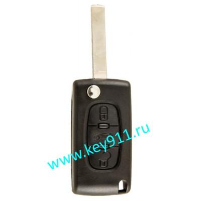 Выкидной ключ для Пежо 407 (Peugeot 407) | VA2 | PCF7941 | 434MHz | 3 кнопки