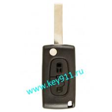 Корпус выкидного ключа Пежо (Peugeot) | HU83 | 2 кнопки