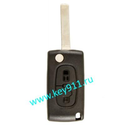 Корпус выкидного ключа Пежо (Peugeot) | VA2 | 2 кнопки