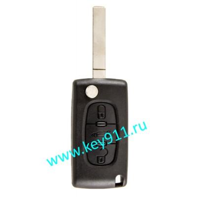 Корпус выкидного ключа Пежо (Peugeot) | VA2 | 3 кнопки