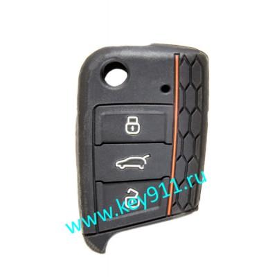 Силиконовый чехол для выкидного ключа Фольксваген (Volkswagen)   3 кнопки