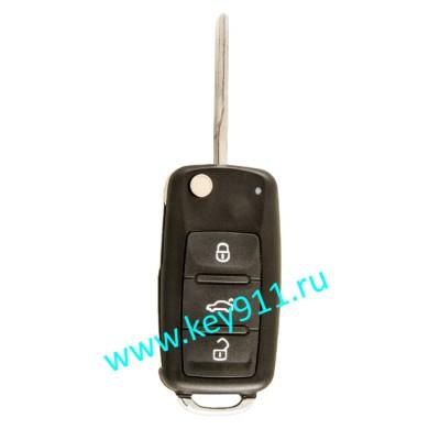 Корпус выкидного ключа Фольксваген (Volkswagen)   HU66   3 кнопки  нового образца